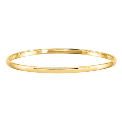 14K Gold Round Bangle Bracelet