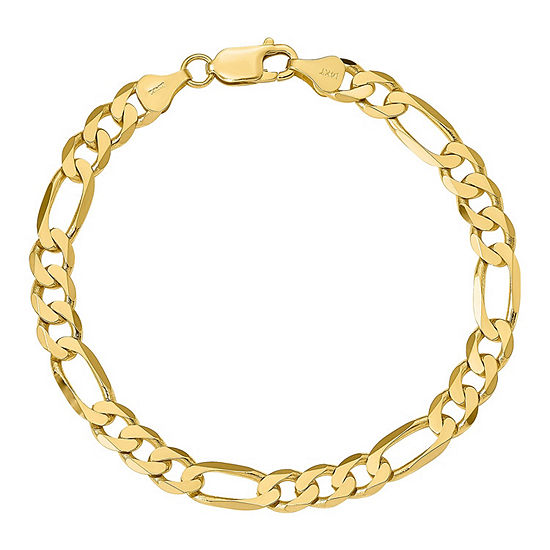 14K Gold 9 Inch Solid Figaro Chain Bracelet