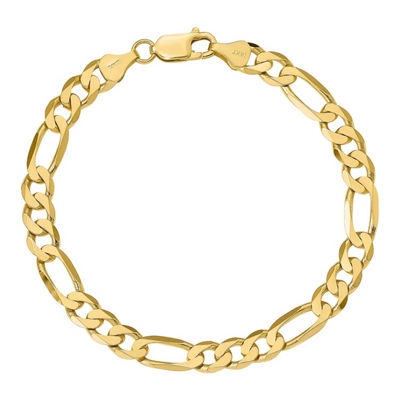 14K Gold 8 Inch Solid Figaro Chain Bracelet
