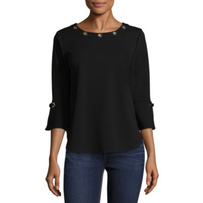 by&by Womens Scoop Neck Long Sleeve Crepe Blouse-Juniors
