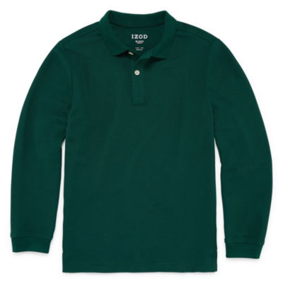 IZOD Pique Little & Big Boys Long Sleeve Stretch Polo Shirt