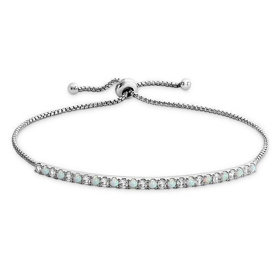Lab Created Opal Sterling Silver Bolo Bracelet