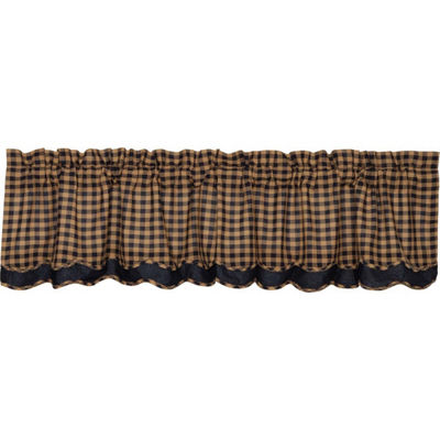 Primitive Window Navy Check Scalloped Layered Valance