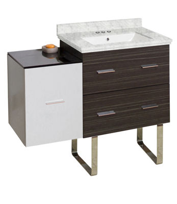 37.75-in. W Floor Mount White-Dawn Grey Vanity SetFor 3H4-in. Drilling Bianca Carara Top White UM Sink