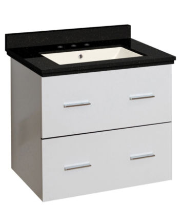 23.75-in. W Wall Mount White Vanity Set For 3H8-in. Drilling Black Galaxy Top Biscuit UM Sink