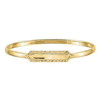 14K Gold 5 1/2 Inch Solid Round Id Bracelet