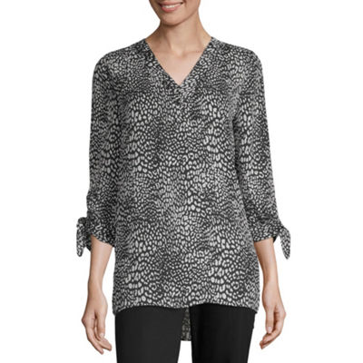 Worthington Womens V Neck 3/4 Sleeve Tunic Top
