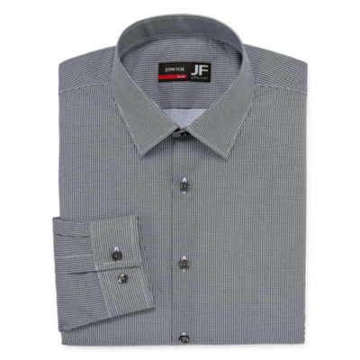 JF J.Ferrar Easy Care Stretch Long Sleeve Broadcloth Dots Dress Shirt -Big And Tall