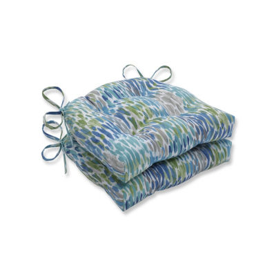 Pillow Perfect Set of 2 Make It Rain Cerulean Reversible Patio Seat Cushions