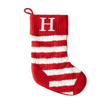 North Pole Trading Co. 19 Inch Knitted Monogram Christmas Stocking