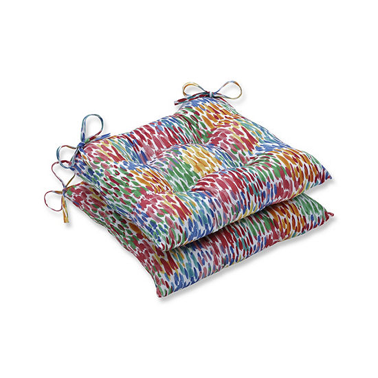Pillow Perfect Set of 2 Make It Rain Zinnia Wrought Iron Patio Seat Cushion