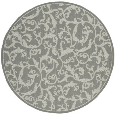 Safavieh Courtyard Collection Horatio Floral Indoor/Outdoor Round Area Rug