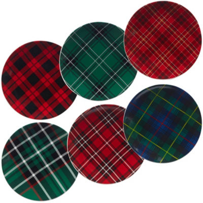 Certified International Christmas Plaid 6-pc. Salad Plate