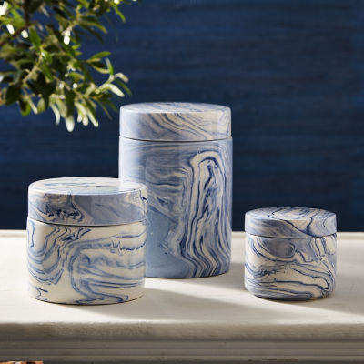 Two's Company Set Of 3 Blue Covered Jars