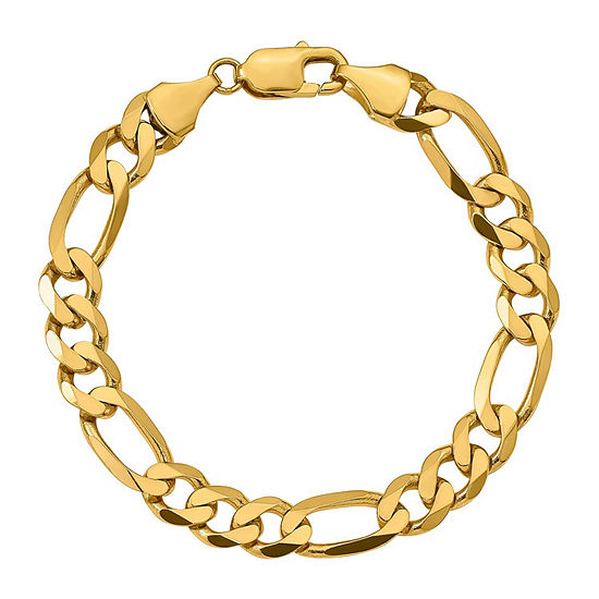14K Gold 9 Inch Solid Figaro Chain Bracelet
