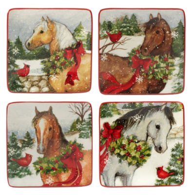 Certified International Christmas On The Farm 4-pc. Appetizer Plate