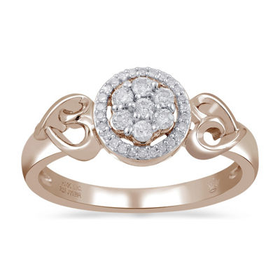 Hallmark Diamonds Womens 1/4 CT. T.W. Genuine White Diamond 14K Rose Gold Over Silver Cocktail Ring