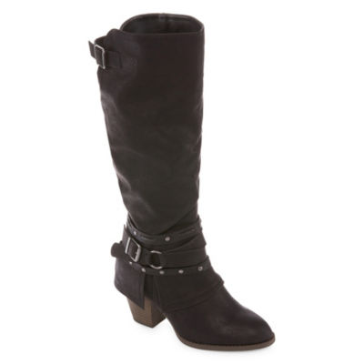 Pop Womens Adrienne Riding Boots Block Heels