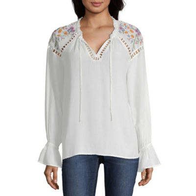 a.n.a Ana Embroidered Shoulder Peasant Top Embroidered Long Sleeve Peasant Top