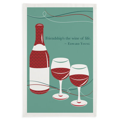 Friendship Wine Printed Dishtowel Set - Set of 3