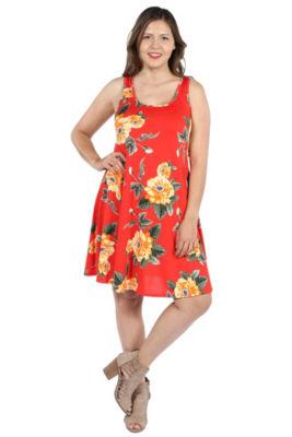 24Seven Comfort Apparel Alicia Red Floral Mini Dress - Plus