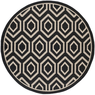 Safavieh Courtyard Collection Carmella Geometric Indoor/Outdoor Round Area Rug