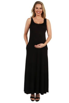 24Seven Comfort Apparel Marion Sleeveless Maternity Maxi Dress