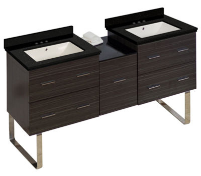 61.5-in. W Floor Mount Dawn Grey Vanity Set For 3H4-in. Drilling Black Galaxy Top Biscuit UM Sink