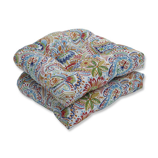 Pillow Perfect Set of 2 Gilford Festival Wicker Patio Seat Cushion