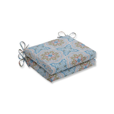 Pillow Perfect Set of 2 Astrid Aqua Squared Corners Patio Seat Cushion