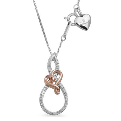 Womens 1/7 CT. T.W. Genuine White Diamond 14K Rose Gold Over Silver Sterling Silver Heart Pendant Necklace