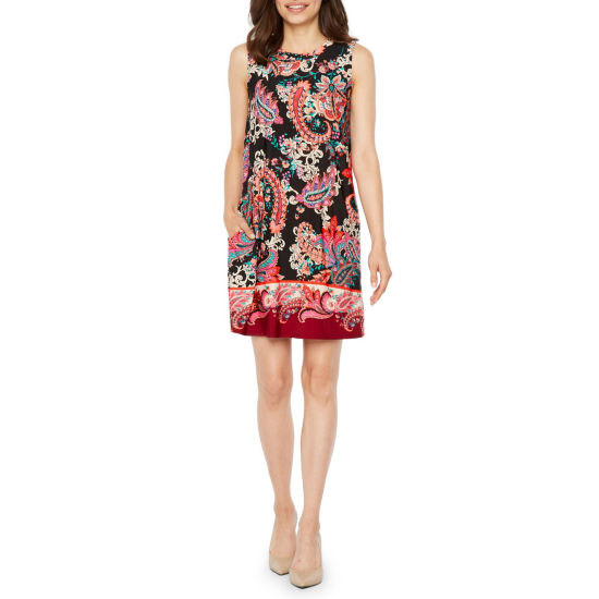 Byer California Sleeveless Paisley Shift Dress-Petite