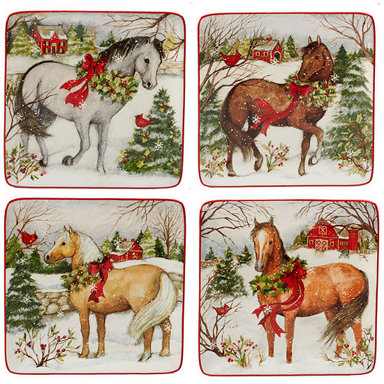 Certified International Christmas On The Farm 4-pc. Salad Plate