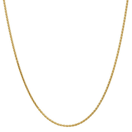 14K Gold 30 Inch Solid Wheat Chain Necklace
