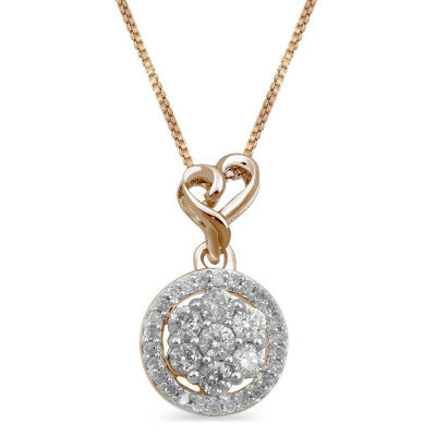 Womens 1/4 CT. T.W. Genuine White Diamond 14K Rose Gold Over Silver Heart Pendant Necklace
