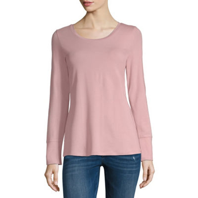 a.n.a Favorite Layering Tee Long Sleeve Scoop Neck T-Shirt-Womens