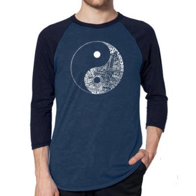 Los Angeles Pop Art Men's Big & Tall Raglan Baseball Word Art T-shirt - YIN YANG