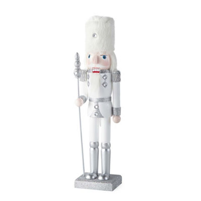 North Pole Trading Co. 14 Inch Silver Glitter Nutcracker