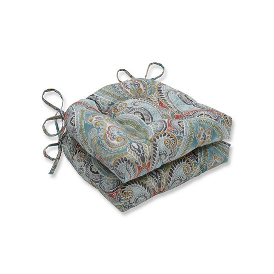 Pillow Perfect Set of 2 Pretty Witty Reef Reversible Patio Seat Cushions