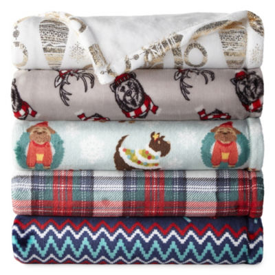 North Pole Trading Co. Velvet Plush Holiday Throw