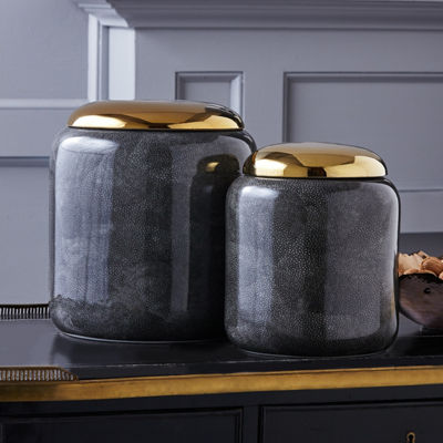 Two's Company Set Of 2 Grey Shagreen Jars With Gold Metallic Lid