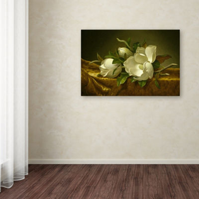 Trademark Fine Art Martin Johnson Heade MagnoliasOn Gold Velvet Cloth Giclee Canvas Art