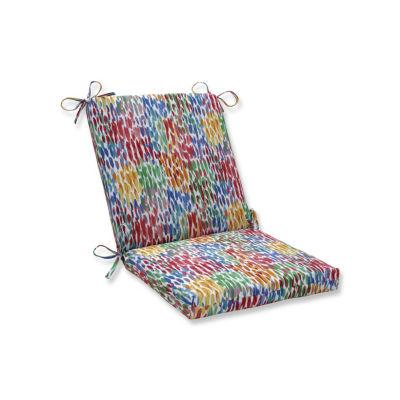 Pillow Perfect Make It Rain Zinnia Squared Corners Patio Chair Cushion