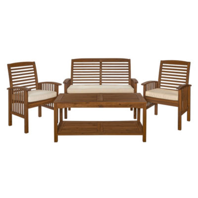 Acacia Wood 4-pc. Patio Conversation Set with Cushions