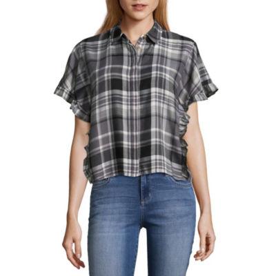 Love More Womens Short Sleeve Camp Shirt
