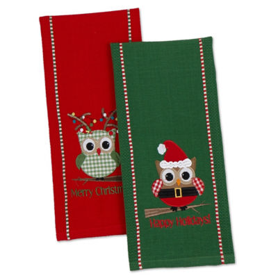 "Happy ""Owl""idays Dishtowel - Set of 2"