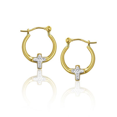 14K Two Tone Gold 13.5mm Cross Hoop Earrings