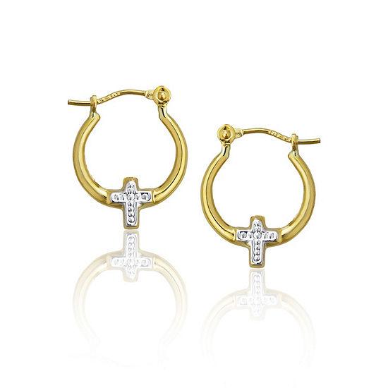 14K Two Tone Gold 13.5mm Cross Hoop Earrings