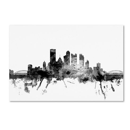 Trademark Fine Art Michael Tompsett Pittsburgh Paskyline Bw Giclee Canvas Art