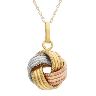 Made In Italy Womens 14K Tri-Color Gold Knot Pendant Necklace
